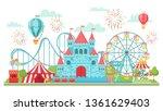 amusement park. roller coaster  ... | Shutterstock .eps vector #1361629403
