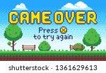 game over screen. retro 8 bit...   Shutterstock .eps vector #1361629613