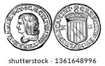 A picture is showing Silver Maryland XII Pence Coin, 1659. These coins are showing the image of Lord Baltimore and reverse side shows Baltimore family shield, vintage line drawing or engraving