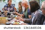 happy family eating and... | Shutterstock . vector #1361668106