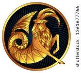 capricorn  zodiac sign of gold  ...   Shutterstock .eps vector #1361677766