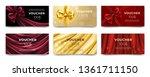 golden voucher or red gift card ...   Shutterstock .eps vector #1361711150