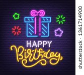 happy birthday neon signboard ... | Shutterstock .eps vector #1361714900