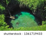 The famous To Sua Ocean Trench, swimming hole in Samoa, Upolu island in Pacific