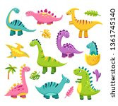 cartoon dinosaur. cartoon cute... | Shutterstock .eps vector #1361745140