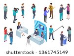 journalist isometric. camera... | Shutterstock .eps vector #1361745149