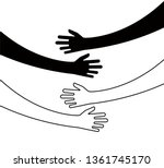 hugging hands. arm embrace ... | Shutterstock .eps vector #1361745170