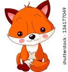 Stock vector fun zoo illustration of cute fox 136177049