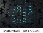creative dark hexagon wallpaper.... | Shutterstock . vector #1361772623