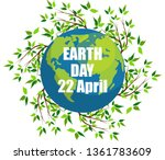 planets and green leaves. april ... | Shutterstock .eps vector #1361783609