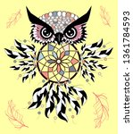 artistic owl with dreamcatcher. ... | Shutterstock .eps vector #1361784593