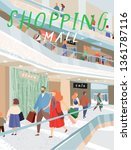 people shopping in the mall.... | Shutterstock .eps vector #1361787116
