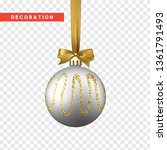 xmas balls silver and gold... | Shutterstock .eps vector #1361791493