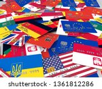 3d rendering of a lot of debit... | Shutterstock . vector #1361812286
