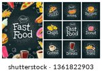set fast food and bubble. cola  ... | Shutterstock .eps vector #1361822903