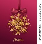 christmas golden ball made of... | Shutterstock .eps vector #1361824199