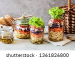 pasta and vegetable salad in a... | Shutterstock . vector #1361826800