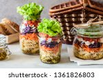 pasta and vegetable salad in a... | Shutterstock . vector #1361826803