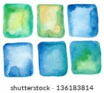 set of blue and green... | Shutterstock . vector #136183814
