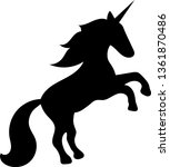 black silhouette of a unicorn... | Shutterstock .eps vector #1361870486