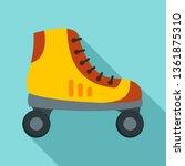 Man Roller Skates Icon. Flat...