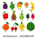 fruits for kids. cute fruit... | Shutterstock .eps vector #1361880149