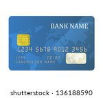 realistic blue bank card with a ...