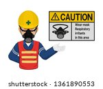 a worker with respiratory mask... | Shutterstock .eps vector #1361890553