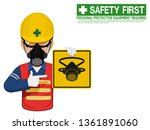 A Worker With Respiratory Mask...