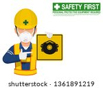 a worker with dust mask is... | Shutterstock .eps vector #1361891219