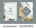 floral blue frame design.... | Shutterstock .eps vector #1361892890