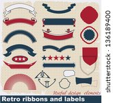 retro ribbons and labels.... | Shutterstock .eps vector #136189400