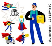 fast delivery courier vector... | Shutterstock .eps vector #1361894660