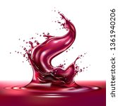 realistic red wine or grape... | Shutterstock .eps vector #1361940206