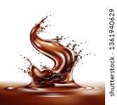 realistic chocolate splash.... | Shutterstock .eps vector #1361940629