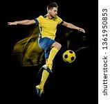 one caucasian soccer player man ... | Shutterstock . vector #1361950853