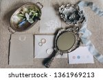 wedding rings  vintage mirror ... | Shutterstock . vector #1361969213