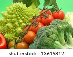 fresh green vegetables on green ... | Shutterstock . vector #13619812