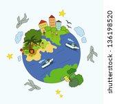 decorative globe with bright ... | Shutterstock .eps vector #136198520