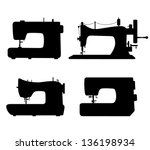set of black isolated contour... | Shutterstock .eps vector #136198934