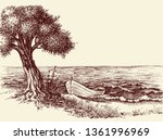 olive tree and a boat on sea... | Shutterstock .eps vector #1361996969