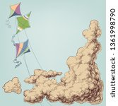 colorful kites flying in the... | Shutterstock .eps vector #1361998790