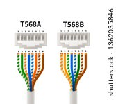rj45 crossover pin assignment... | Shutterstock .eps vector #1362035846