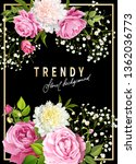 trendy floral background with... | Shutterstock .eps vector #1362036773