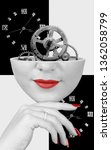 Small photo of Surreal woman head with cog wheels