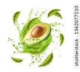 realistic avocado juice splash. ... | Shutterstock .eps vector #1362077210