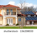 house with eco energyroof | Shutterstock . vector #136208033