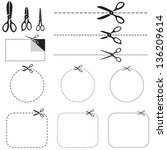 a set of images with scissors.... | Shutterstock .eps vector #136209614