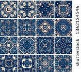 majolica pottery tile  blue and ... | Shutterstock .eps vector #1362134546
