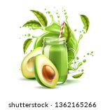realistic smoothie mason jar... | Shutterstock .eps vector #1362165266